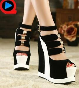 Womens-Platform-Punk-Wedge-Heel-Ankle-Strap-Peep-Toe-Sandals-High-Heel-Shoes