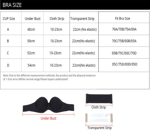 2019 Transparent Back Push Up Bra Strap Invisible Bras Women Underwire 1//2 Cup