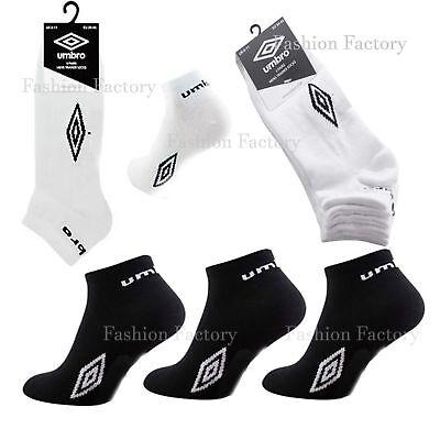Mens Umbro Sports Trainer Liner Ankle Socks Summer Gym Cotton Rich Black White