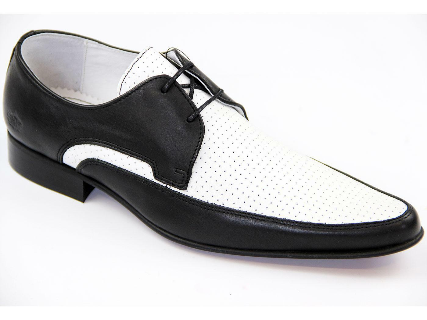 Ikon Jam  Ik3414  Mens Leather Pointed Shoes Black White Retro Mod Rock 60S