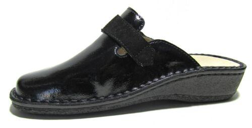 Pantofole Ciabatte da Donna con Plantare Estraibile Comode In Pelle Chiuse Nere