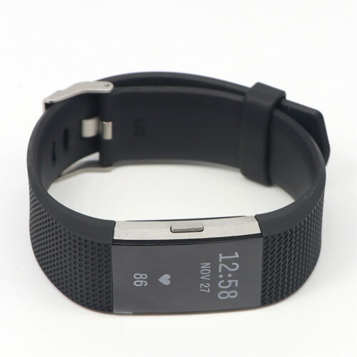 Black Large Fitbit Charge 2 HR Heart Rate Monitor Fitness Wristband Tracker