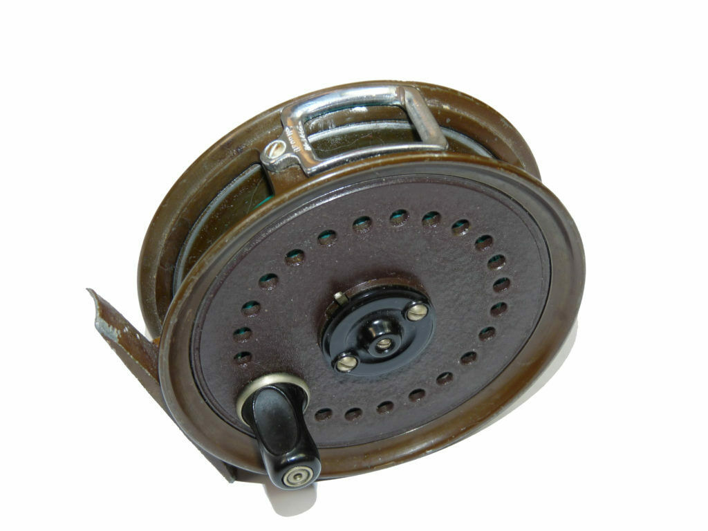Milward Flymaster trout fly reel by J W Young  with line guide and brown facto...  promotional items