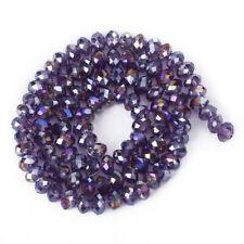 petit lot de 150 PERLES en VERRE ANCIENNE torsadé violet marbré 5.5 x 4 mm