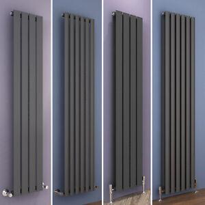 Designer Radiator Anthracite Vertical Flat Panel Oval Column Tall Upright Rads
