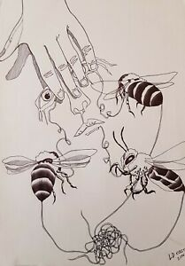 Lysiane-D-Coste-dessin-sur-papier-drawing-on-paper-Bee-Mine-29-42cm-2016
