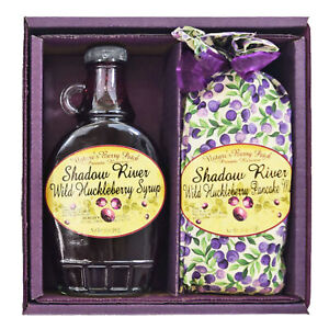 Shadow River Wild Huckleberry Gourmet Boxed Gift Set Pancake Mix & 10 oz Syrup