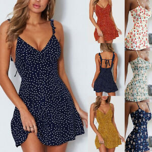 Women's Boho Floral Summer V Neck Party Evening Beach Short Mini Dress Sundress
