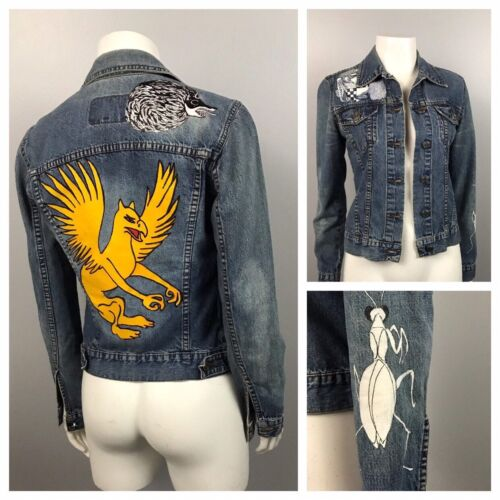 Hand Painted Cotton Jean Jacket / Button Up Hand D