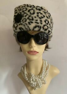 Handmade-Velvet-amp-Faux-Leopard-Fur-Russian-Cossack-Style-Hat-Fully-Lined-22