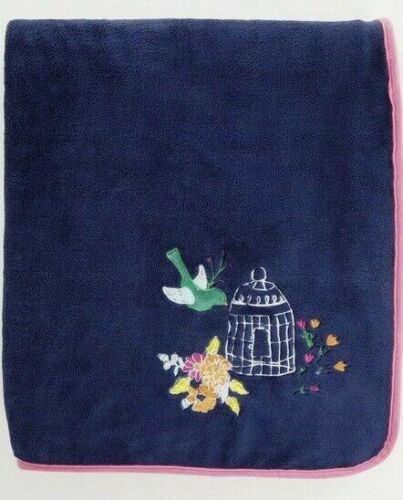 Catherine Lansfield Blue Birdcage Throw fleece  Blanket 120cm x 150cm  FREE POST