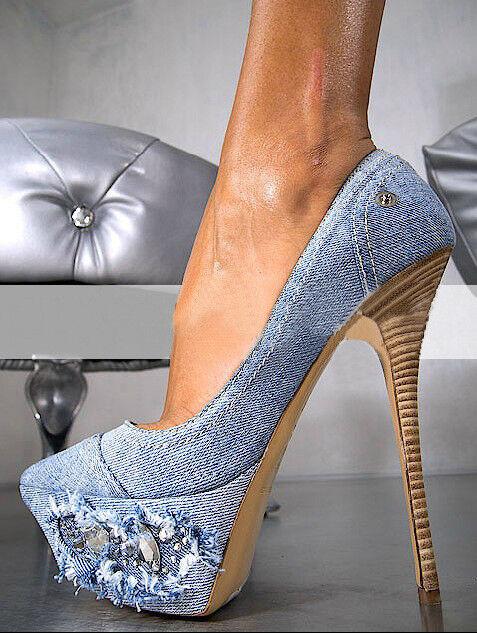 Women Denim Round Toe Platform Super Slim High Heel Club Slip On Stiletto shoes