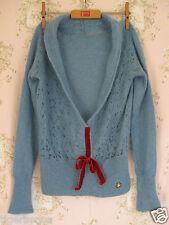 Vintage 40s 50s Segunda Guerra Mundial Terciopelo arco Mohair Lana Crochet Tejido Con Cuello en V Puente Rojo Azul