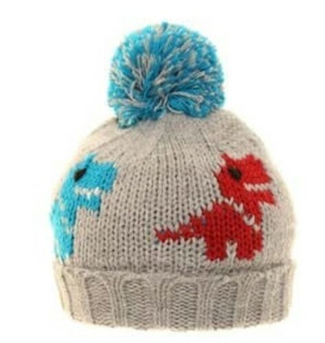 SSP  Boys Child/'s Chunky Knit Warm Winter Dinosaur Patterned Ski Beanie Hat B228