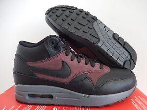 best sneakers 76839 019fc NIKE AIR MAX 1 MID DELUXE QS BLACK-BARKROOT BROWN SZ 7.5 [726411-002 ...