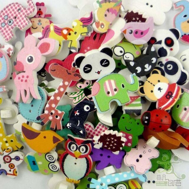 80pcs Wooden Mixed Animals Buttons Craft-Scrapbook Embellishment-Sew Cards