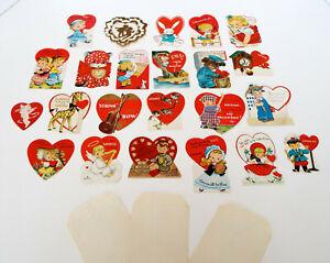 Antique-Valentine-Collection-26-Piece-Estate-Lot-Vintage-Diecut-Hallmark-USA