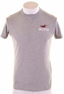 Hollister-Para-Hombre-Grafico-T-Shirt-Top-Algodon-Gris-Medio-GF08