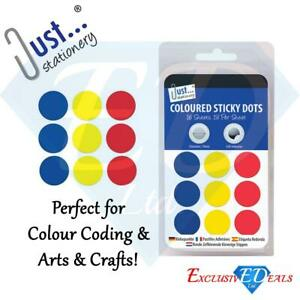 Coloured-Sticky-Dots-288-Stickers-Assorted-Colours-Self-Adhesive-19mm-Tallon