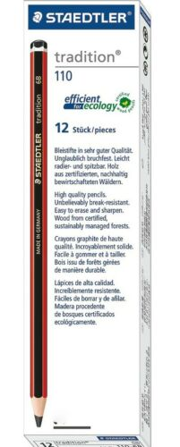 Staedtler Tradition 110 Sketch Pencils 6B 5B 4B 3B 2B B HB F H 2H 3H 4H 12X Set