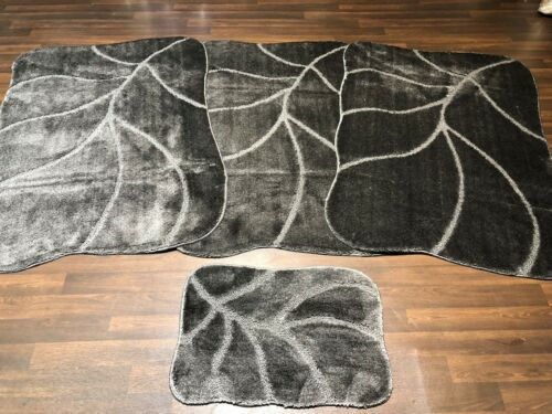 ROMANY WASHABLES GYPSY MATS 4PC SET NEW LARGE LEAF DESIGN NON SLIP CHARCOAL RUGS