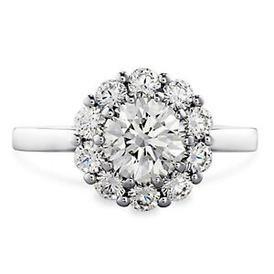 1.10 Ct Certified Moissanite Anniversary Ring 18K Solid White Gold ring Size 6