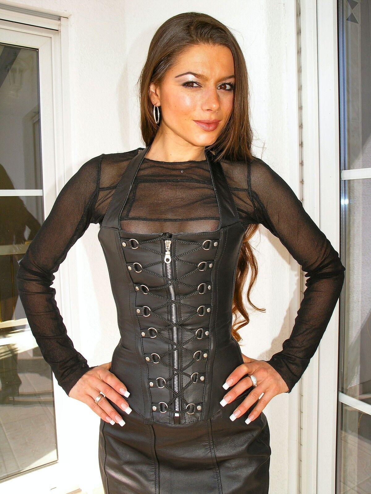 Véritable Cuir Gothique Corsage Corset Noir 2xl sexy ledercorsage xxl