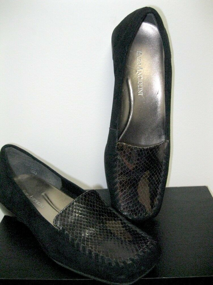 Vintage Enzo Angiolini Women's Reptile Black Suede Leather Loafers Shoes Women's Angiolini size 6 743789