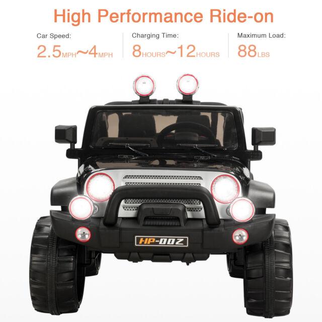 12v Kids Ride On Jeep Cars Remote Control 4 Speed Mp3 Radio Led