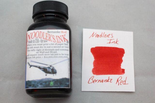 NOODLERS FOUNTAIN PEN INK 3 OZ BOTTLE BERNANKE RED