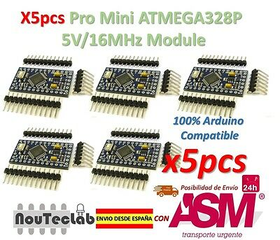 5pcs Pro Mini ATMEGA328P 5V//16MHz Module with Bootloader Pin Header for Arduino