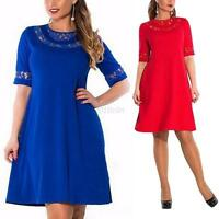 Fashion Half Sleeve Women Lace Loose Casual Dress Party Cocktail Club Plus Size