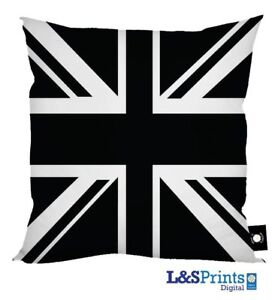 Union Jack Negro Y Blanco Funda De Cojín Impreso Digital