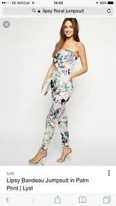 534a30d68b6d Lipsy Floral Palm Print Jumpsuit Summer Holiday Size 6 Purple Green ...