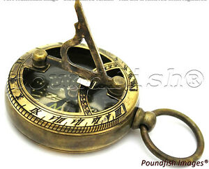 Brass-Compass-amp-Sundial-London-Pocket-Sundial-Compass