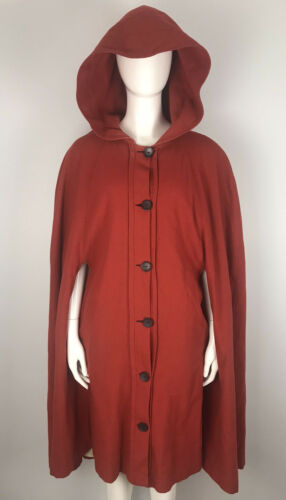 Vintage 1940's Red Wool Cape Coat With Oversized H