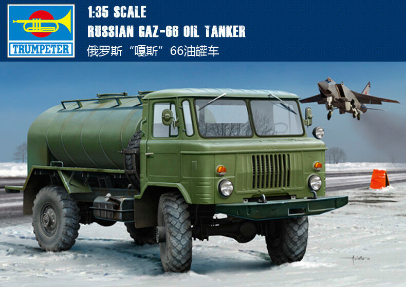 01018 Trumpeter 1 35 Scale Model Russian GAZ-66 Oil Tanker Tractor Car Static