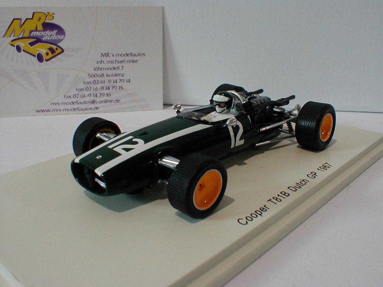 SPARK s4806-Cooper t81b t81b t81b No. 12 HOLLAND GP Formule 1 1967 Jochen Rindt 1:43 Nouveau   Terrific Value  c94a9a