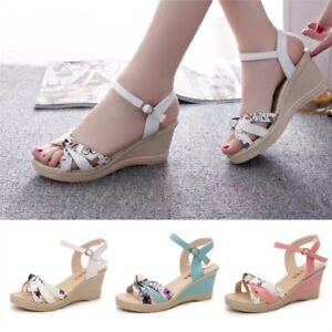 6a5f1155a Image is loading Ladies-Women-Wedges-Shoes-Summer-Sandals-Platform-Peep-