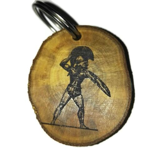 Spartan-Soldier-Handmade-Engraved-Wooden-Keyring-Key-Fob-Pendant-caraccessories