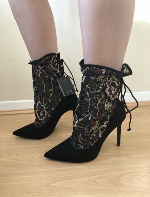 511d9ab6181 Zara Black Embroidered Stocking Style High Heels Size UK 3 BNWT RRP£69.99