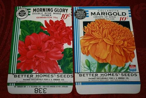 """New Find Lot of 10 Vintage 1934 /""""Better Homes/"""" Seed Packets Crosman Seed Co."""