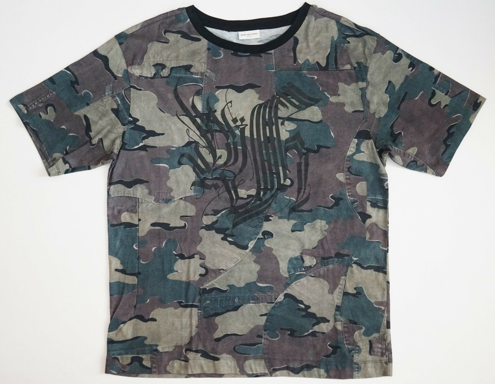 NWT Authentic DRIES VAN NOTEN CAMO Camouflage CREST Printed T-Shirt Tee S M L