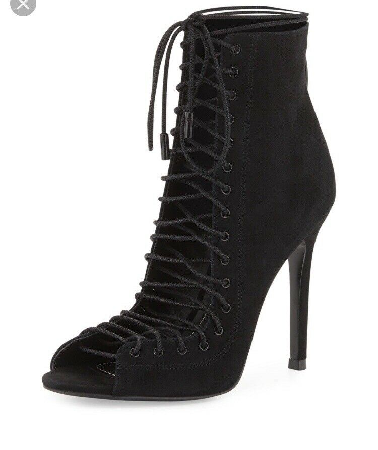 Kendall Kylie Lace Up Suede Black Booties Ginny Ginny Ginny 7.5 0a180f