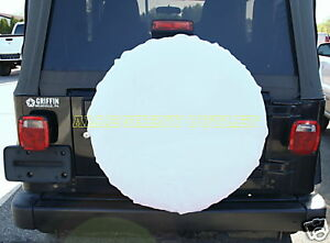 4 WHITE Tire Wheel Covers Car Trailer RV Camper NEW