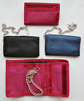 New Canvas Chain trifold wallet in Black Red or Navy Fast Free UK Delivery