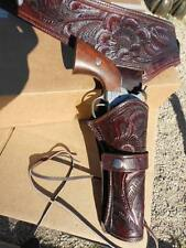 """Western quickdraw gun Holster 22 cal 32"""" waist thick tooled leather cowboy NEW"""