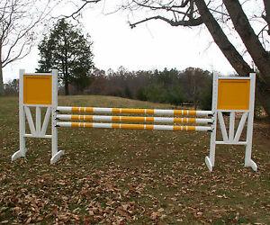 "Horse Jumps Solid Panel Top 3 Rail ""V"" Bottom Jumper Wing Standards Pair/6ft#257"
