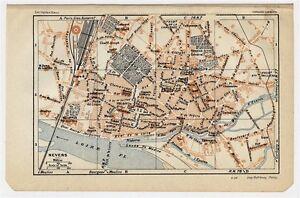 1930 Original Vintage City Map Of Nevers Burgundy France Ebay