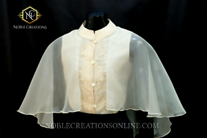 dbcacab8d24 Image is loading Modern-FILIPINIANA-Dress-Silk-CAPE-BARONG-tagalog- Philippine-